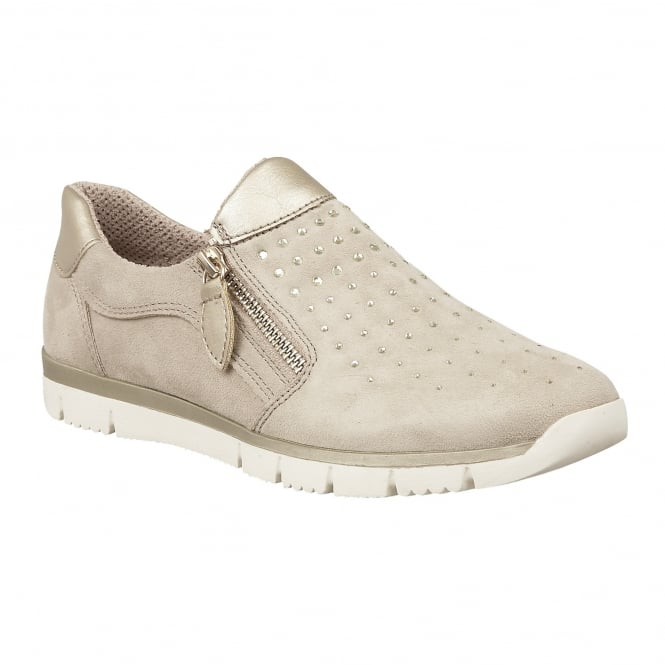 Beige Diamante Ferruccio Zip-Up Trainers | Lotus Relife
