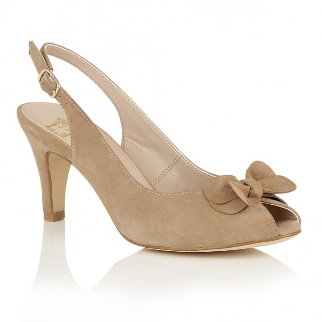 Beige Eulalia Suede Sling-Back Shoes | Lotus