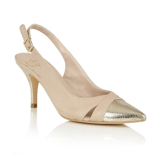 Beige & Gold Ewelina Leather Court Shoes | Lotus