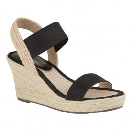 Black Adita Wedge Open-Toe Sandals | Lotus