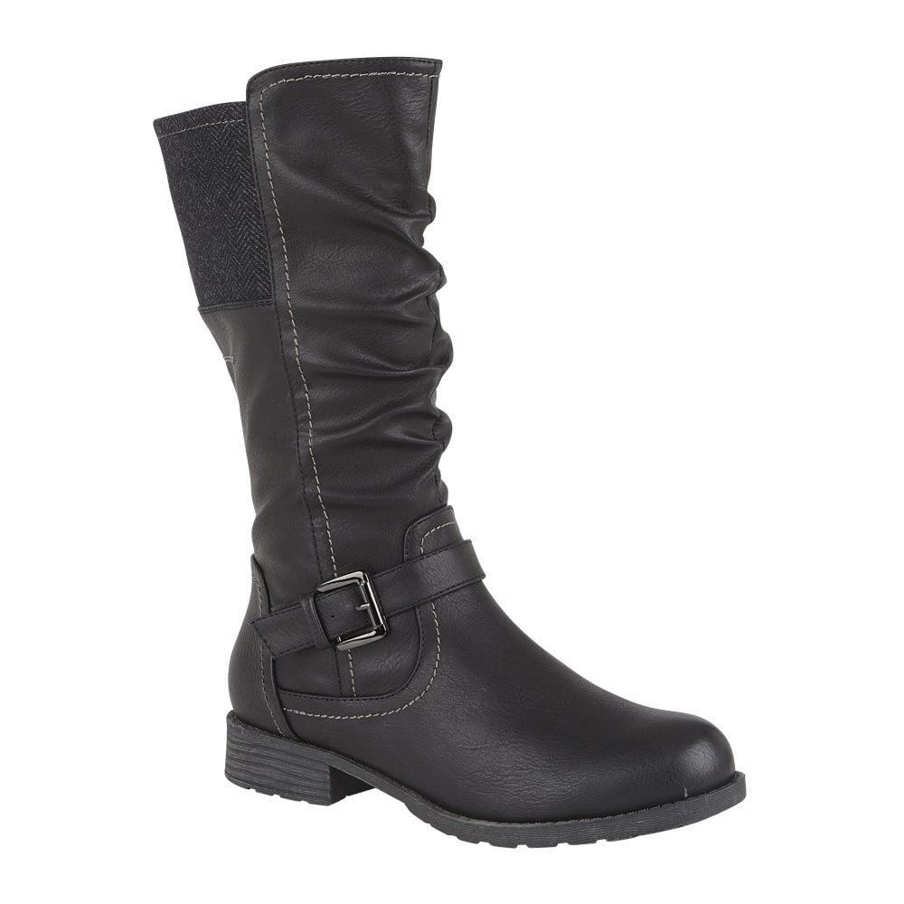 Black Adriana Mid Calf Biker Boots | Lotus