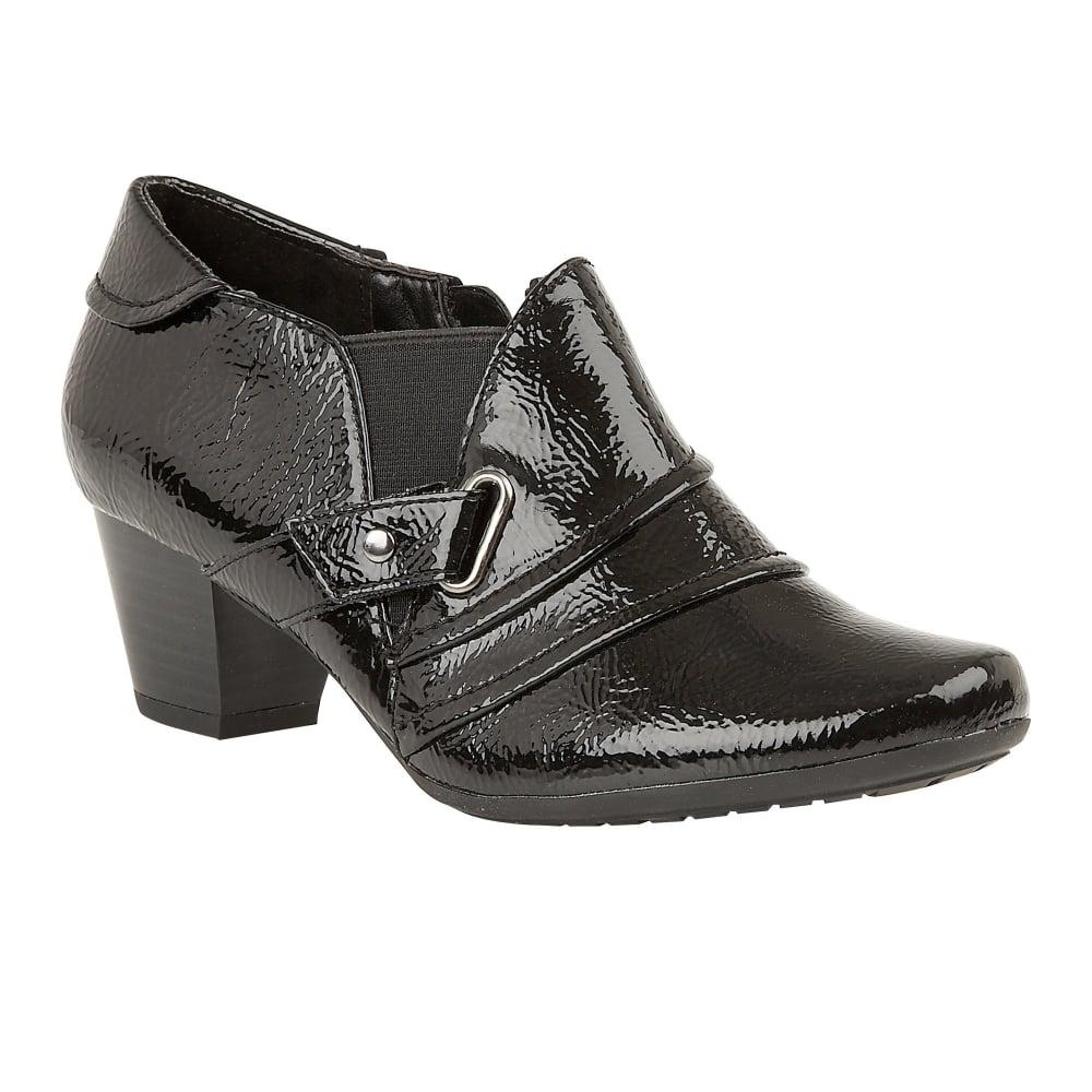 buy the lotus ladies aldane shoe boot in black patent