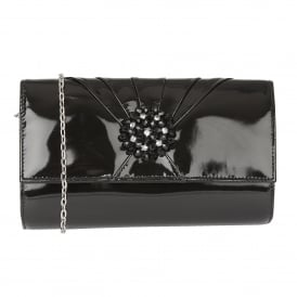 Black Aria Patent Cluster Clutch Bag | Lotus