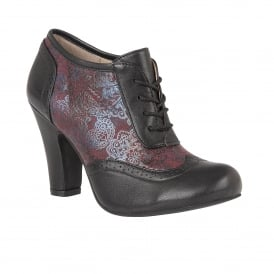 Black & Bordeaux Printed Kale Leather Shoe-Boots | Lotus