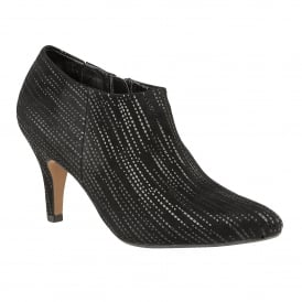 Black Boudicca Print Leather Shoe-Boots | Lotus