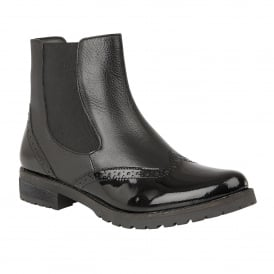 Black Brianza Leather & Patent Ankle Boots