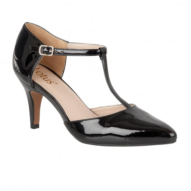 Black Camomile Patent Mary-Jane Court Shoes | Lotus