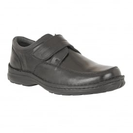 Black Canley Smooth Leather Velcro Shoes | Lotus