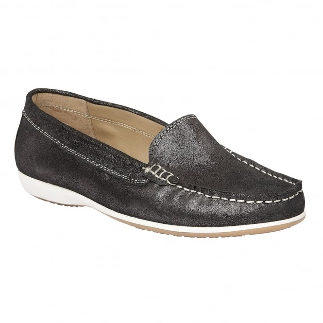 Black Conforti Shimmer Leather Loafers | Lotus