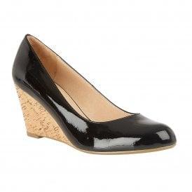 e287e55a2c Black Crinkle Patent Georgia Wedge Shoes   Lotus Sale