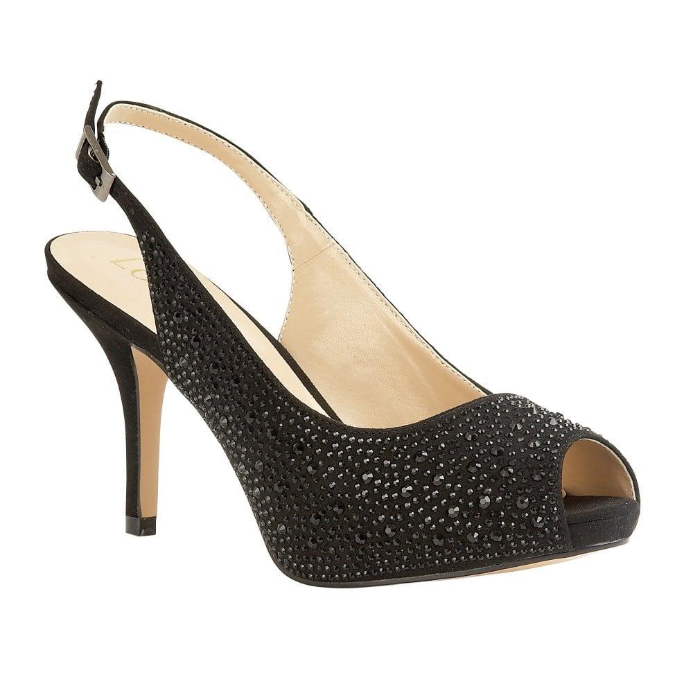 91e3ffd7374 Black/Diamante Astro Sling-back Shoes | Lotus