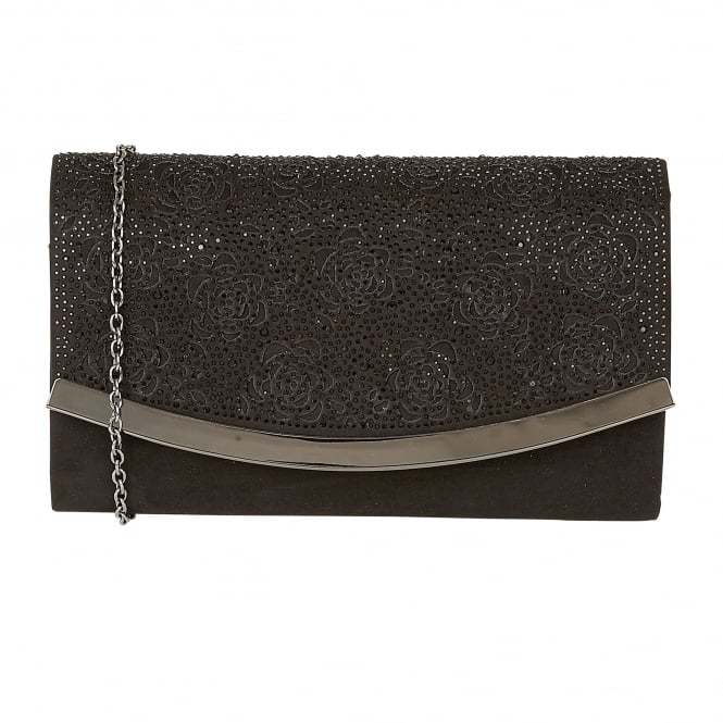 Black & Diamante Bisante Clutch Bag | Lotus