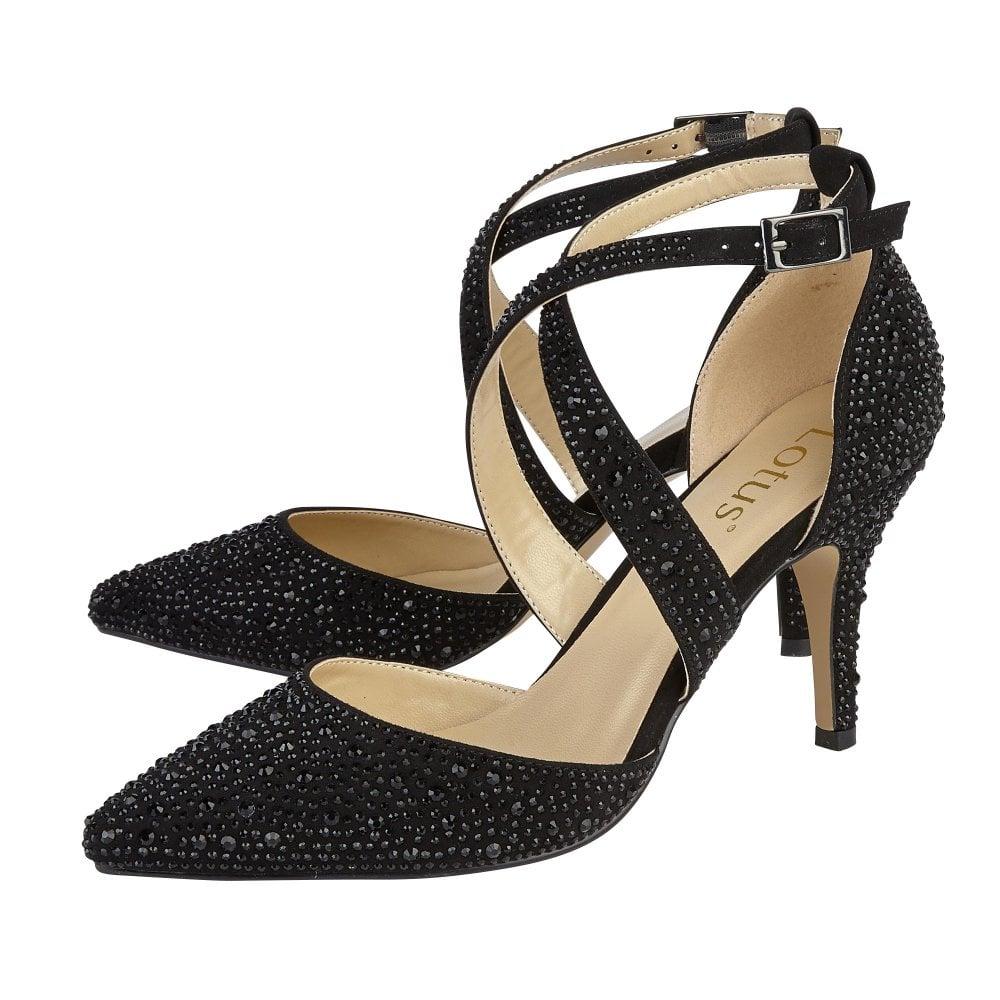 d55ccbc4802 Black & Diamante Star Court Shoes | Lotus