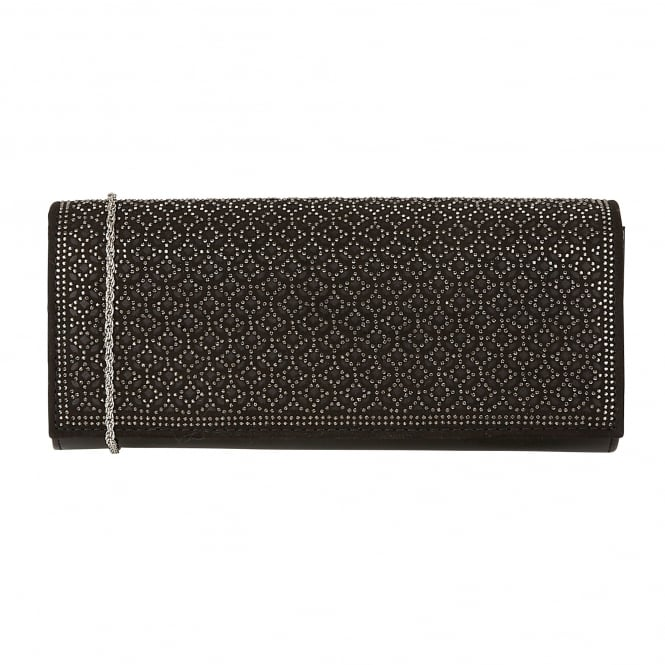 Black & Diamante Tadine Clutch Bag | Lotus