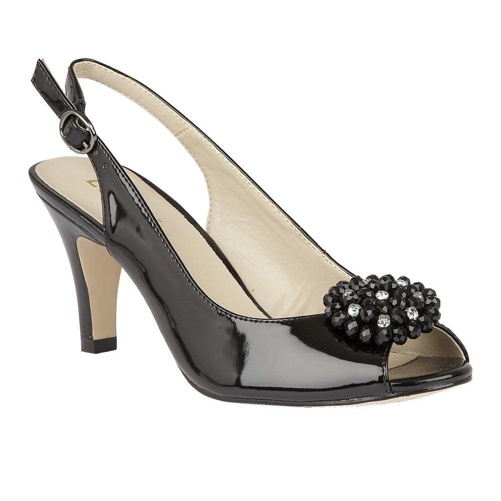 299892de054 Buy the Lotus ladies  Elodie open toe slingback shoe in black online