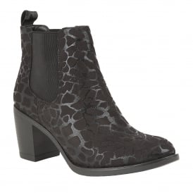 Black Ennis Leopard Printed Ankle Boots