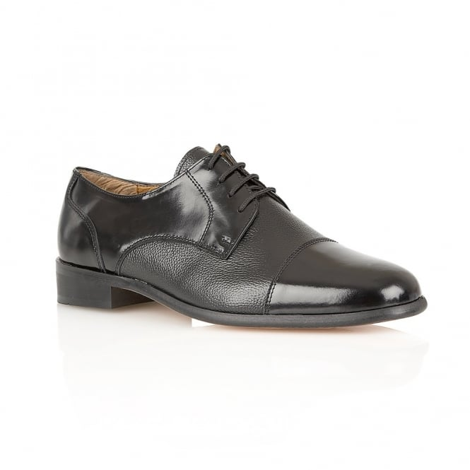 Black Farnham Smooth & Grain Leather Lace-Up Shoes | Rombah Wallace