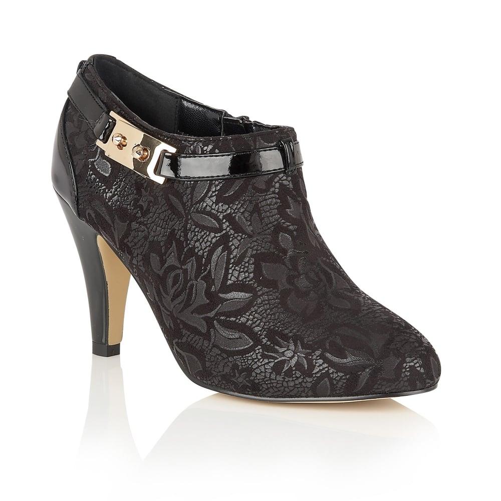 Black Floral Print Jacaranda Shoe Boots Lotus