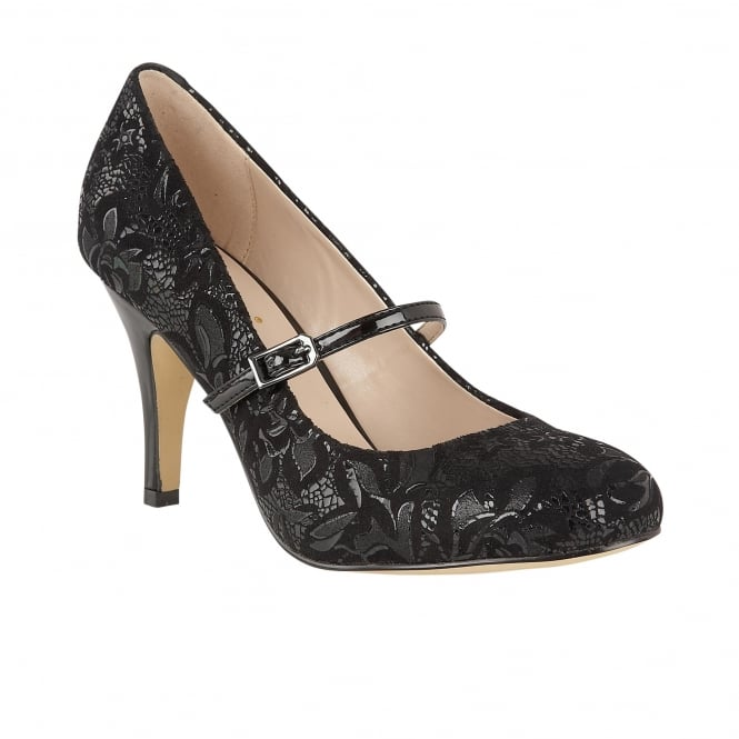 Black Floral Printed Fuzina Mary-Jane Court Shoes | Lotus