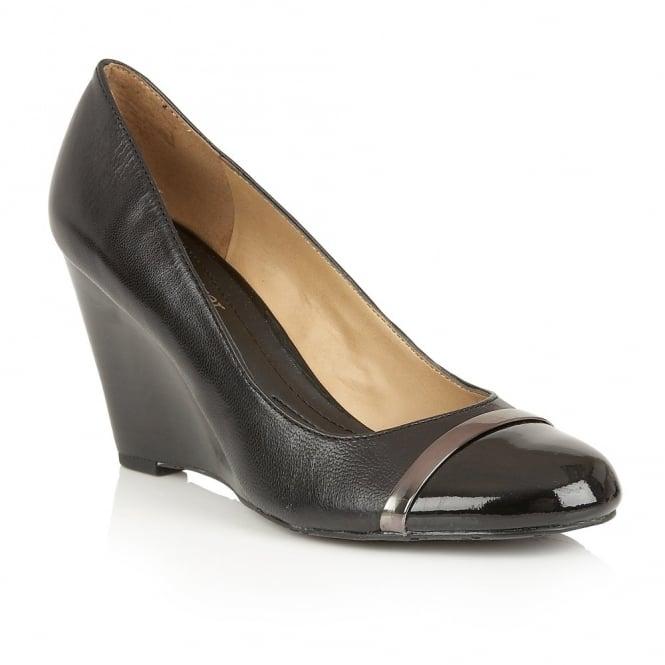 Lotus Black Pump Wedge Shoe