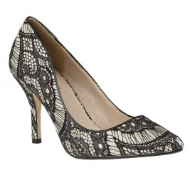 Black Heath Lace & Gold Glitz Court Shoes
