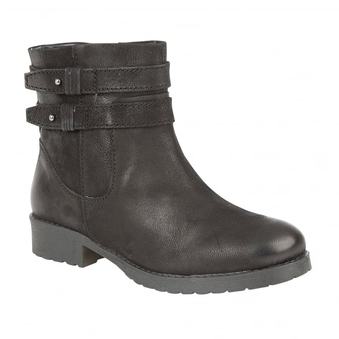 Black Heckle Leather Ankle Boots | Lotus