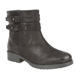 Black Heckle Leather Ankle Boots