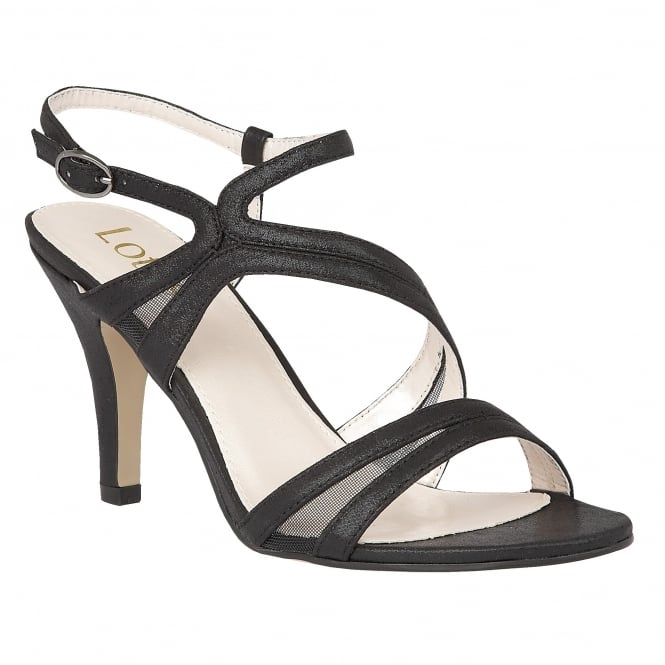Black Hendren Shimmer Strappy Sandals | Lotus