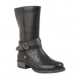 Black Huambo Leather Mid-Calf Boots