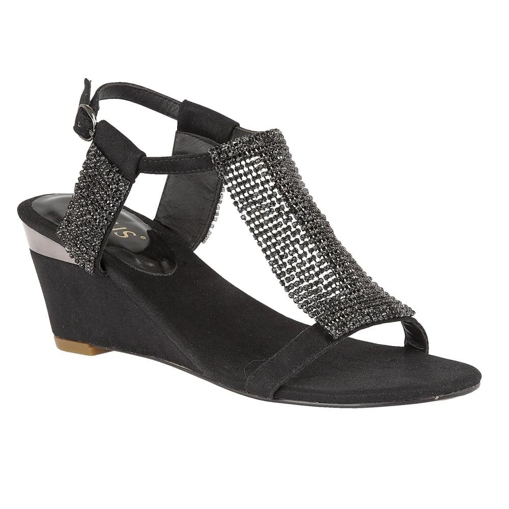 Black Klaudia Chainmail Wedge Sandals Lotus Sandals