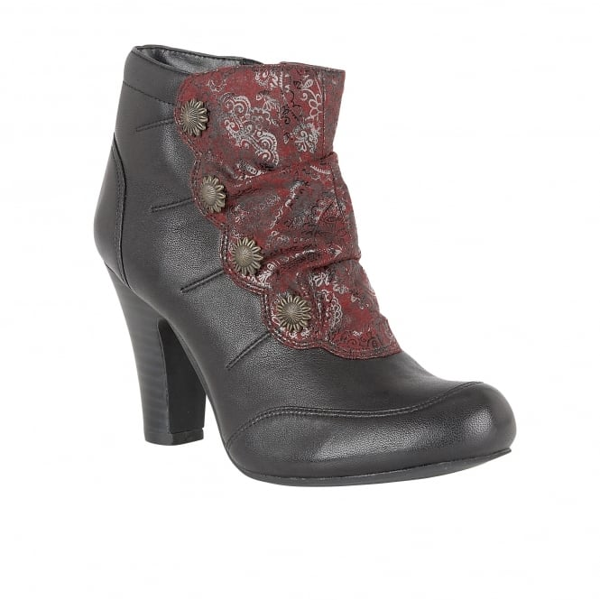 Black Leather & Bordeaux Printed Martiza Ankle Boots | Lotus