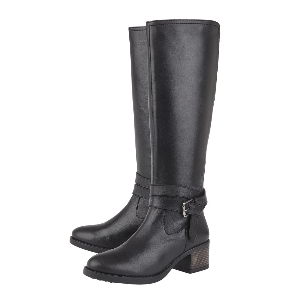 Janessa knee high boot in black leather