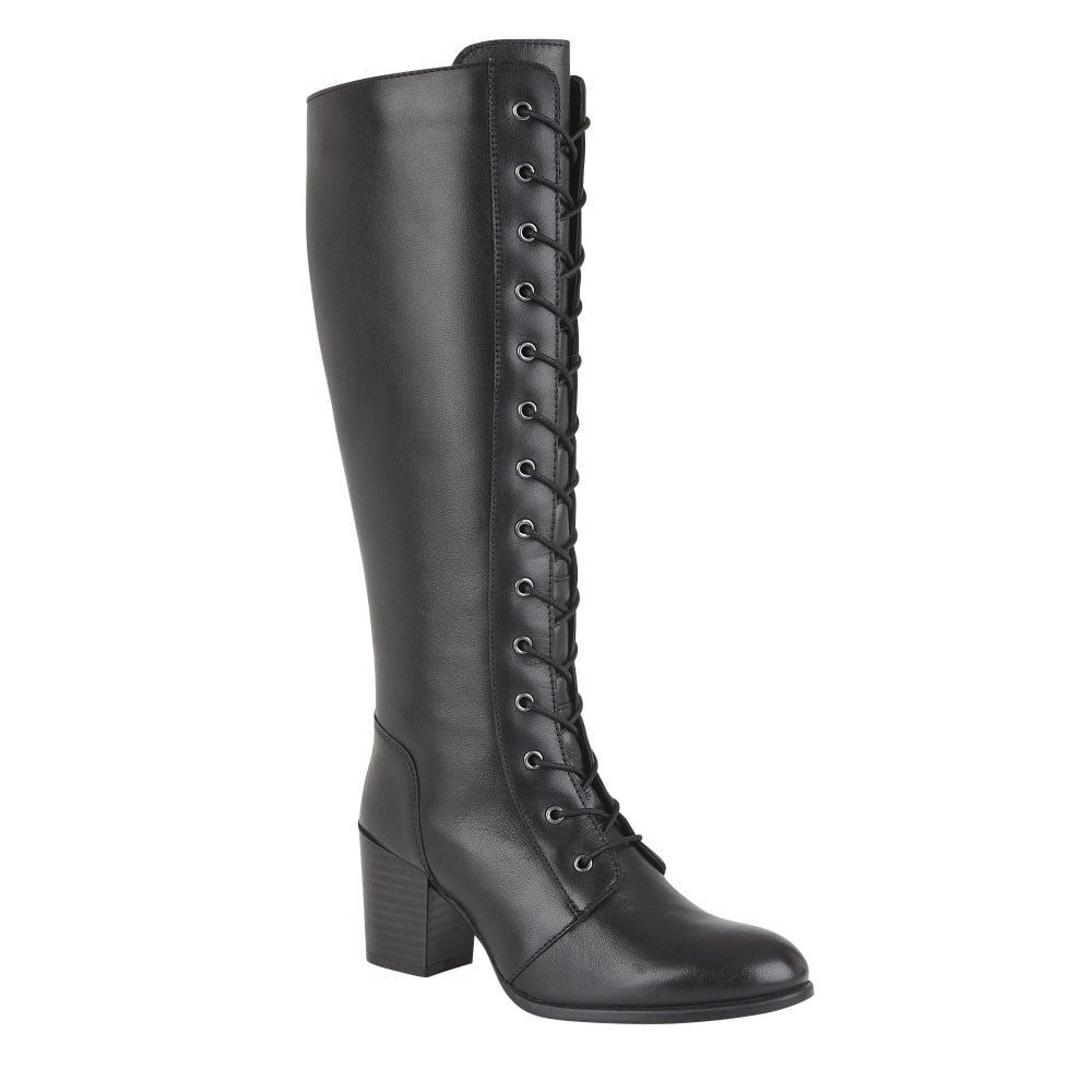 Mina knee high boot in black leather