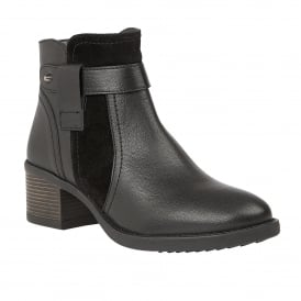 Black Makayla Leather Ankle Boots