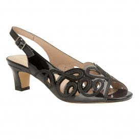 Black Marianna Open-Toe Sling-Back Shoes | Lotus