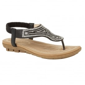 Black Marieta Toe-Thong Sandals | Lotus
