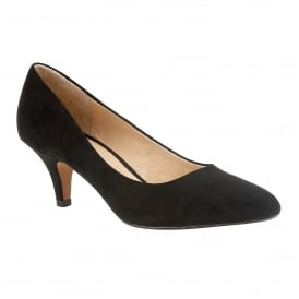Black Microfibre Clio Pointed Toe Court Shoes | Lotus