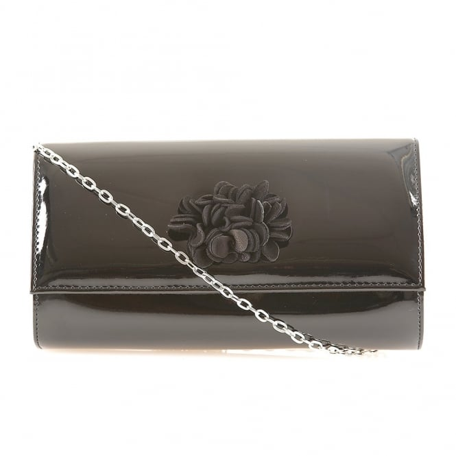 Black Monorla Patent & Suede Clutch Bag