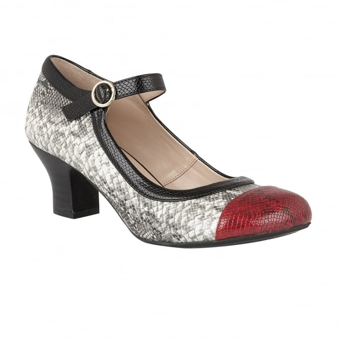 Black Multi Snake Printed Ornice Mary-Jane Court Shoes | Lotus