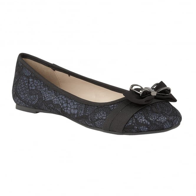 Black & Navy Shayna Glitter Ballerina Shoes | Lotus