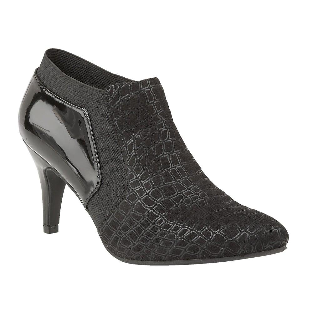 buy the lotus ladies pacta shoe boot in black print