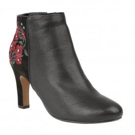 Black Parisa Embroidered Ankle Boots | Lotus