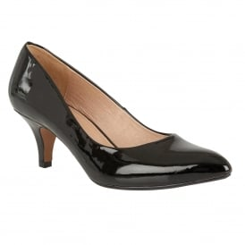 Black Patent Clio Pointed Toe Court Shoes | Lotus