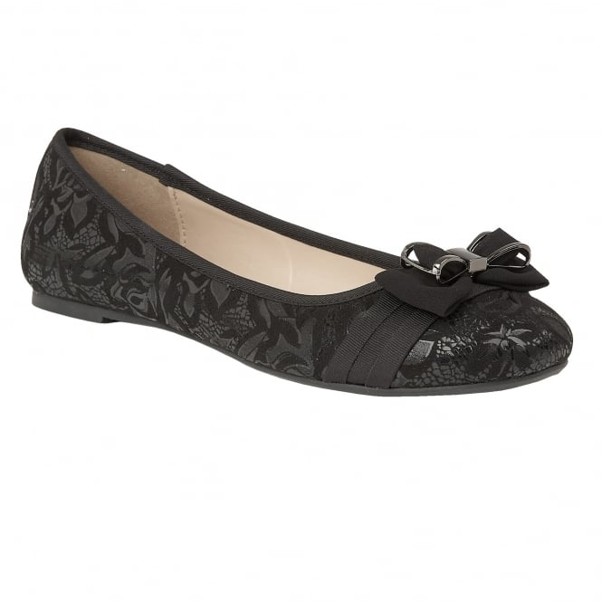 Black Peaky Floral Printed Ballerina Shoes | Lotus