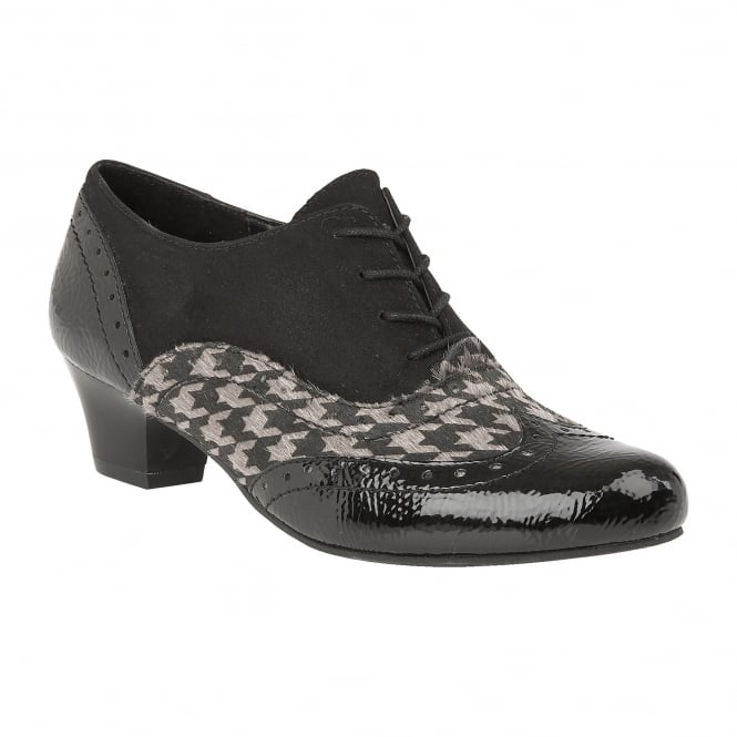Black & Pewter Otto Crinkle Patent Lace-Up Shoes | Lotus