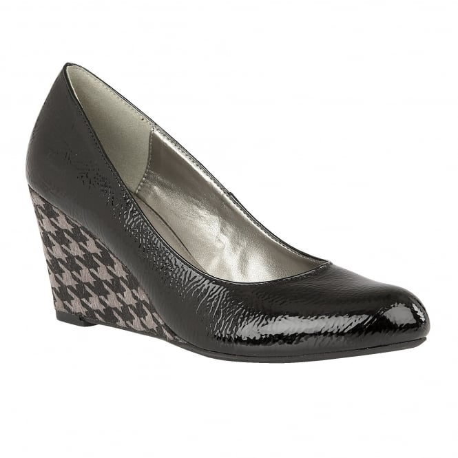 Black & Pewter Sascha Crinkle Patent Wedge Shoes