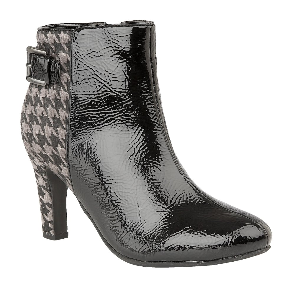 Black & Pewter Soni Crinkle Patent Ankle Boots | Lotus