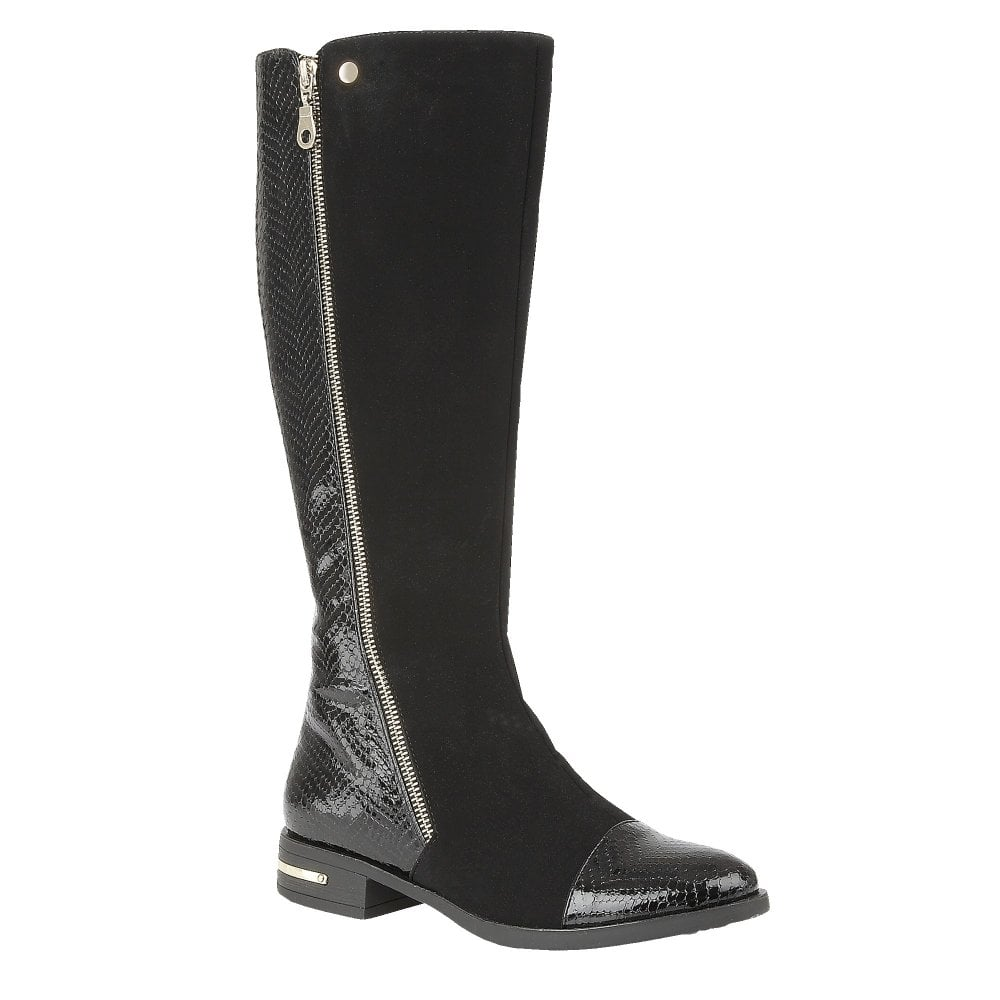 wide selection of colours and designs hot-selling fashion competitive price Black Pontal Microfibre & Patent Knee-High Boots | Lotus