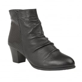 Black Punata Leather Ankle Boots | Lotus