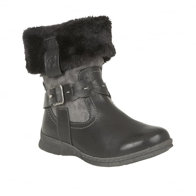 Black Roxana Faux-Fur Ankle Boots | Lotus Relife